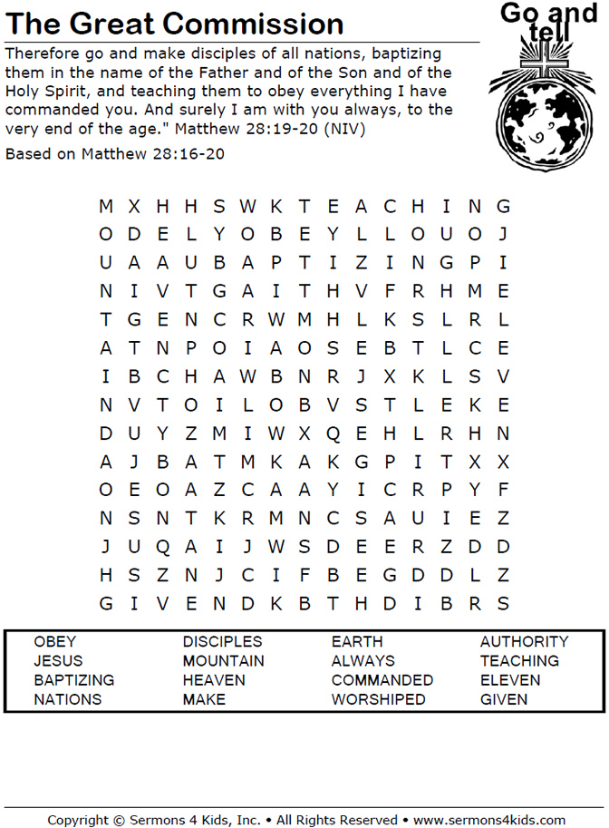 The Great Commission Word Search