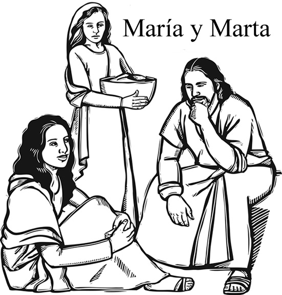 Jesús visita a Marta y a María | Página para colorear