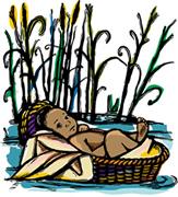 El bebé Moisés en el río