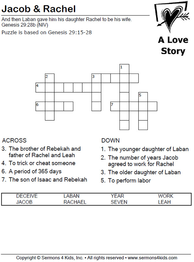 Jacob Amp Rachel Crossword Puzzle