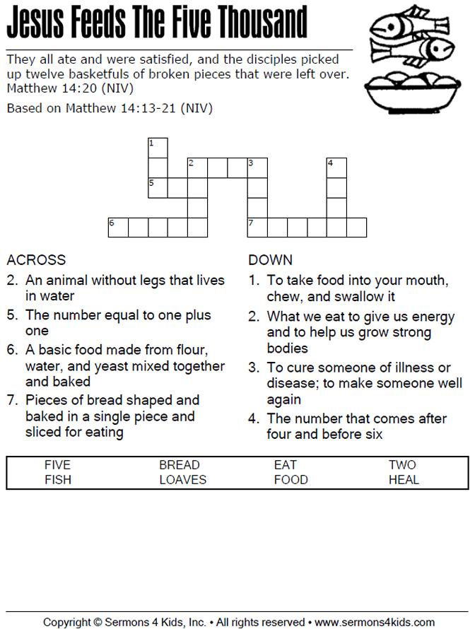 Jesus Feeds The 5000 Crossword Puzzle