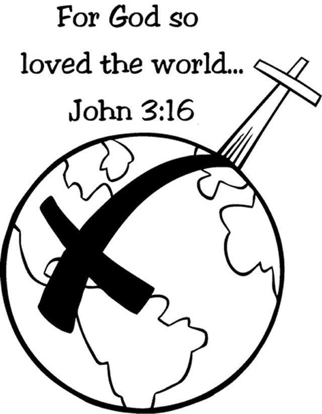 John 3 16 verse coloring pages about Jesus,God's love to the world