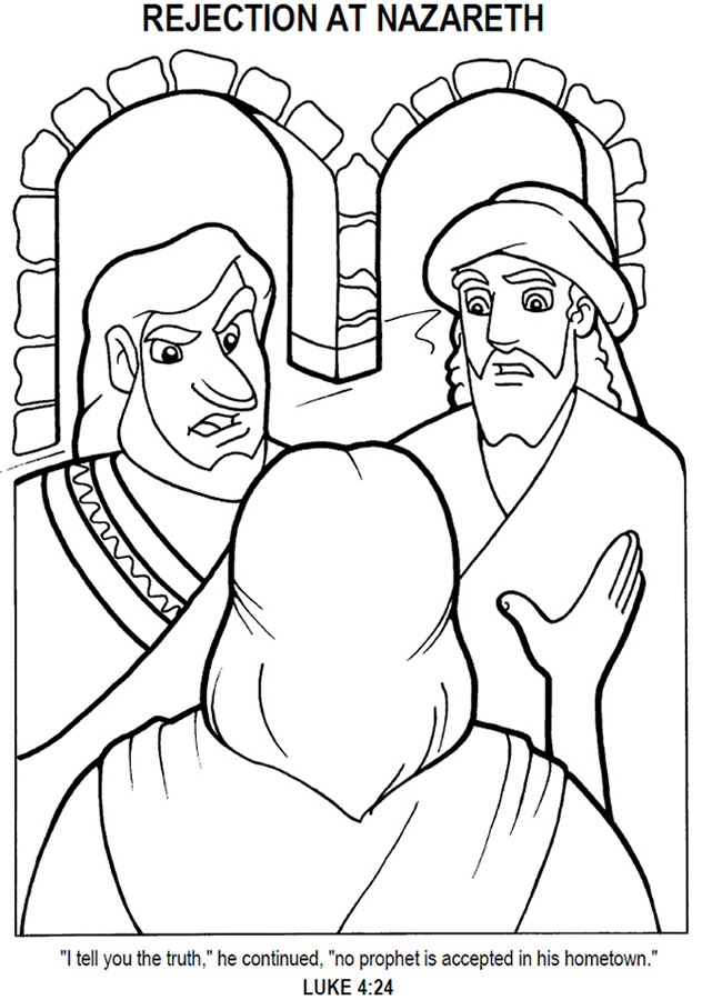 Jesus Rejected at Nazareth - Coloring Page