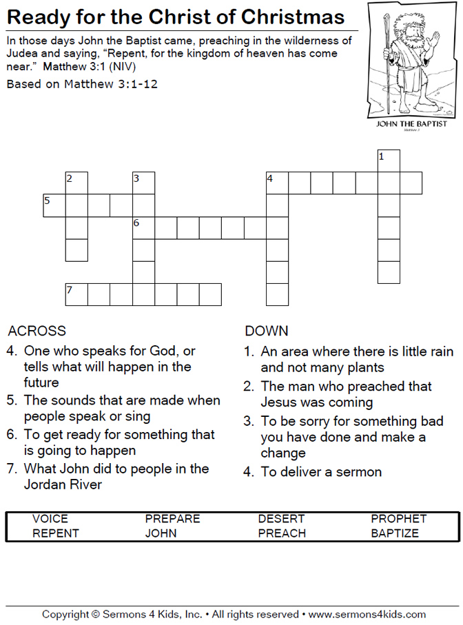 Christmas Crossword Puzzles For Kids Crossword puzzle.