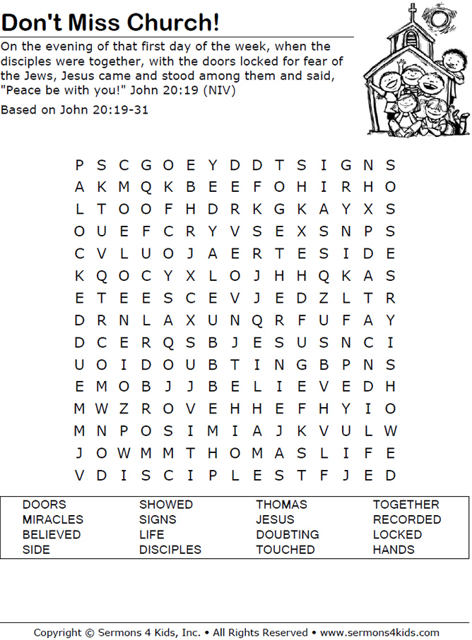 Don't Miss Church! - Word Search Puzzle