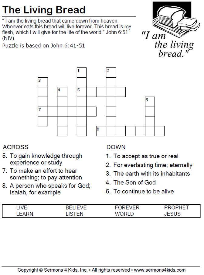 The Living Bread - Crossword Puzzle