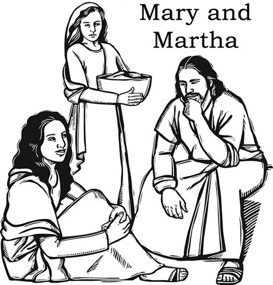 Mary Martha Coloring Page | Sermons4Kids